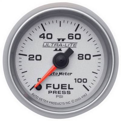 "Instrument Panel - Fuel Pressure Gauge - AutoMeter - GAUGE, FUEL PRESSURE, 2 1/16"", 100PSI, DIGITAL STEPPER MOTOR, ULTRA-LITE II - 4963"