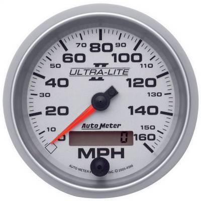 """Instrument Panel - Speedometer Gauge - AutoMeter - GAUGE, SPEEDOMETER, 3 3/8"""", 160MPH, ELEC. PROGRAMMABLE, ULTRA-LITE II - 4988"""