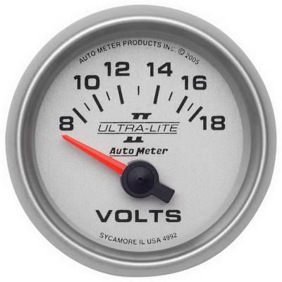 """Instrument Panel - Voltmeter Gauge - AutoMeter - GAUGE, VOLTMETER, 2 1/16"""", 18V, ELECTRIC, ULTRA-LITE II - 4992"""