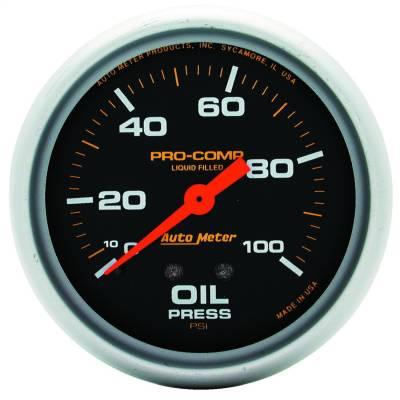 "Instrument Panel - Engine Oil Pressure Gauge - AutoMeter - GAUGE, OIL PRESS, 2 5/8"", 100PSI, LIQUID FILLED MECH, PRO-COMP - 5421"