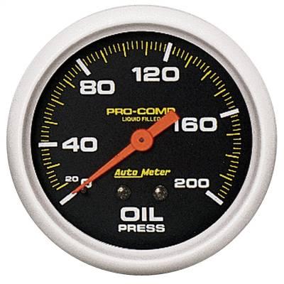 "Instrument Panel - Engine Oil Pressure Gauge - AutoMeter - GAUGE, OIL PRESS, 2 5/8"", 200PSI, LIQUID FILLED MECH, PRO-COMP - 5422"