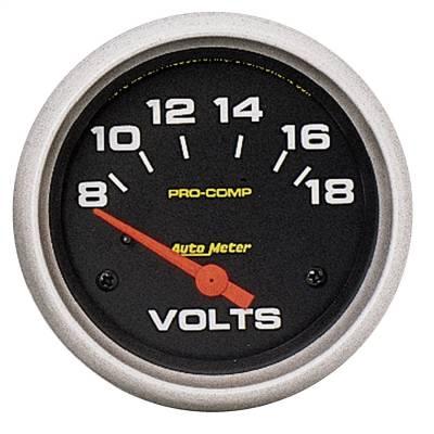 """Instrument Panel - Voltmeter Gauge - AutoMeter - GAUGE, VOLTMETER, 2 5/8"""", 18V, ELECTRIC, PRO-COMP - 5492"""