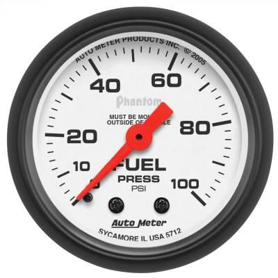 "Instrument Panel - Fuel Pressure Gauge - AutoMeter - GAUGE, FUEL PRESSURE, 2 1/16"", 100PSI, MECHANICAL, PHANTOM - 5712"