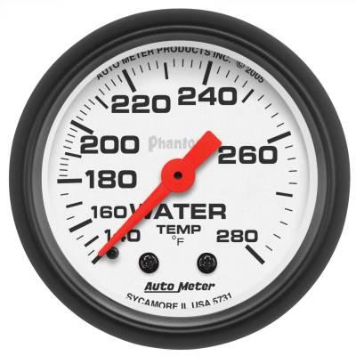 "Instrument Panel - Engine Coolant Temperature Gauge - AutoMeter - GAUGE, WATER TEMP, 2 1/16"", 140-280?F, MECHANICAL, PHANTOM - 5731"