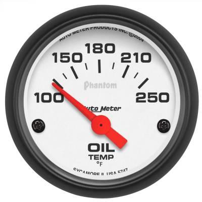 "Instrument Panel - Engine Oil Temperature Gauge - AutoMeter - GAUGE, OIL TEMP, 2 1/16"", 100-250?F, ELECTRIC, PHANTOM - 5747"