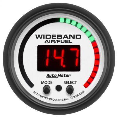 "Instrument Panel - Air / Fuel Ratio Gauge - AutoMeter - GAUGE, AIR/FUEL RATIO-PRO, 2 1/16"", 10:1-20:1, DIGITAL W/ PEAK & WARN, PHANTOM - 5778"