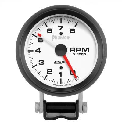 "Instrument Panel - Tachometer Gauge - AutoMeter - GAUGE, TACHOMETER, 3 3/4"", 8K RPM, PEDESTAL W/ RED LINE, PHANTOM - 5780"