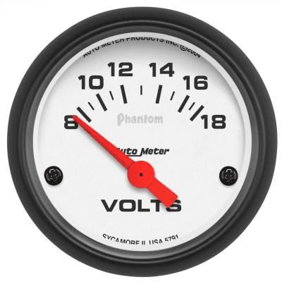"""Instrument Panel - Voltmeter Gauge - AutoMeter - GAUGE, VOLTMETER, 2 1/16"""", 18V, ELEC, PHANTOM - 5791"""