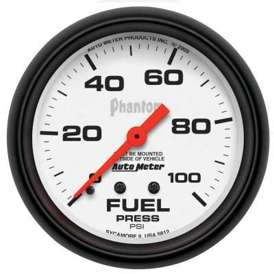 "Instrument Panel - Fuel Pressure Gauge - AutoMeter - GAUGE, FUEL PRESSURE, 2 5/8"", 100PSI, MECHANICAL, PHANTOM - 5812"