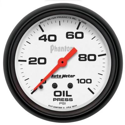 "Instrument Panel - Engine Oil Pressure Gauge - AutoMeter - GAUGE, OIL PRESSURE, 2 5/8"", 100PSI, MECHANICAL, PHANTOM - 5821"