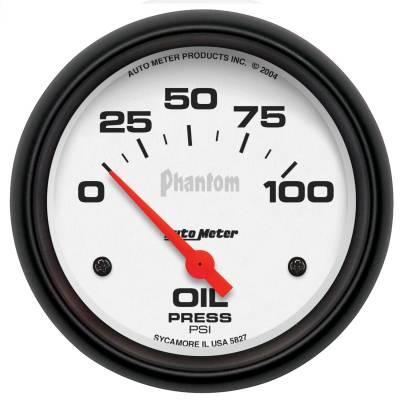 "Instrument Panel - Engine Oil Pressure Gauge - AutoMeter - GAUGE, OIL PRESSURE, 2 5/8"", 100PSI, ELECTRIC, PHANTOM - 5827"