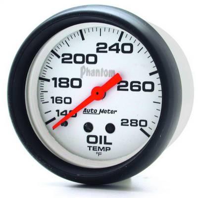 "Instrument Panel - Engine Oil Temperature Gauge - AutoMeter - GAUGE, OIL TEMP, 2 5/8"", 140-280?F, MECHANICAL, PHANTOM - 5841"