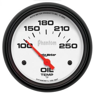 "Instrument Panel - Engine Oil Temperature Gauge - AutoMeter - GAUGE, OIL TEMP, 2 5/8"", 100-250?F, ELECTRIC, PHANTOM - 5847"