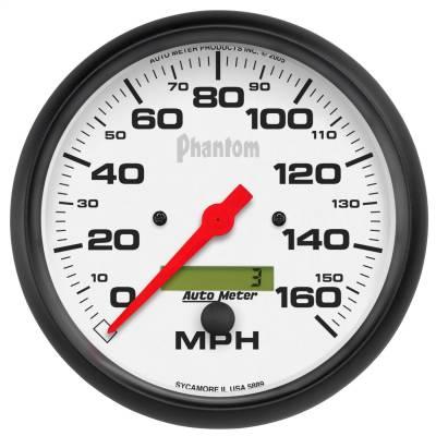 """Instrument Panel - Speedometer Gauge - AutoMeter - GAUGE, SPEEDO, 5"""", 160MPH, ELEC. PROGRAM W/ LCD ODO, PHANTOM - 5889"""