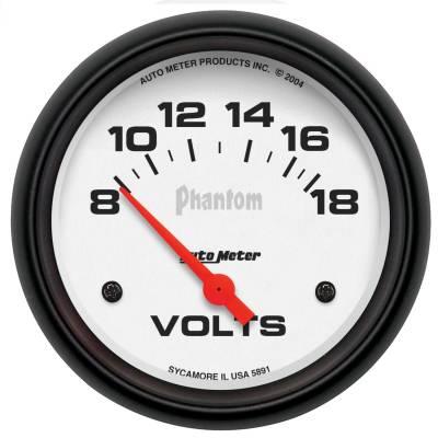 """Instrument Panel - Voltmeter Gauge - AutoMeter - GAUGE, VOLTMETER, 2 5/8"""", 18V, ELECTRIC, PHANTOM - 5891"""