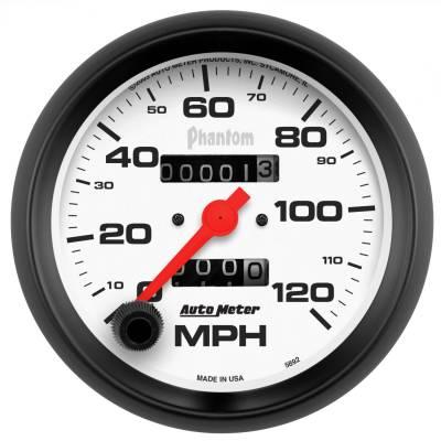"""Instrument Panel - Speedometer Gauge - AutoMeter - GAUGE, SPEEDOMETER, 3 3/8"""", 120MPH, MECHANICAL, PHANTOM - 5892"""