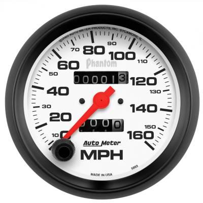 """Instrument Panel - Speedometer Gauge - AutoMeter - GAUGE, SPEEDOMETER, 3 3/8"""", 160MPH, MECHANICAL, PHANTOM - 5893"""