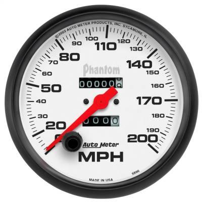 """Instrument Panel - Speedometer Gauge - AutoMeter - GAUGE, SPEEDOMETER, 5"""", 200MPH, MECHANICAL, PHANTOM - 5896"""