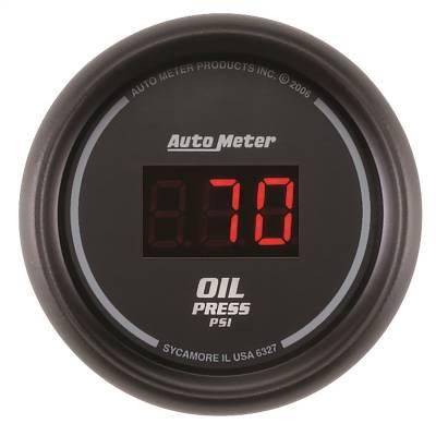 """Instrument Panel - Engine Oil Pressure Gauge - AutoMeter - GAUGE, OIL PRESSURE, 2 1/16"""", 100PSI, DIGITAL, BLACK DIAL W/ RED LED - 6327"""