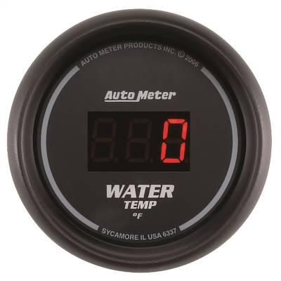 "Instrument Panel - Engine Coolant Temperature Gauge - AutoMeter - GAUGE, WATER TEMP, 2 1/16"", 340?F, DIGITAL, BLACK DIAL W/ RED LED - 6337"