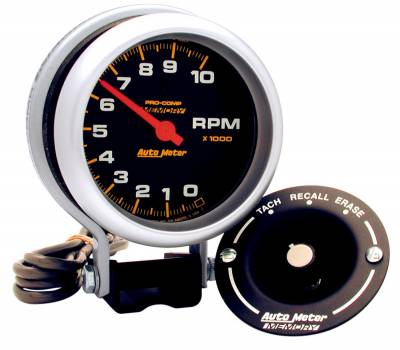 "Instrument Panel - Tachometer Gauge - AutoMeter - GAUGE, TACHOMETER, 3 3/4"", 10K RPM, PEDESTAL W/PEAK MEMORY, PRO-COMP - 6601"
