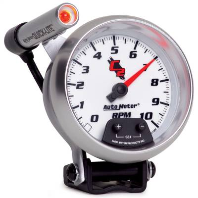 "Instrument Panel - Tachometer Gauge - AutoMeter - GAUGE, TACHOMETER, 3 3/4"", 10K RPM, PEDESTAL W/ EXT. QUICK-LITE, C2 - 7290"