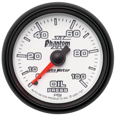 "Instrument Panel - Engine Oil Pressure Gauge - AutoMeter - GAUGE, OIL PRESSURE, 2 1/16"", 100PSI, MECHANICAL, PHANTOM II - 7521"