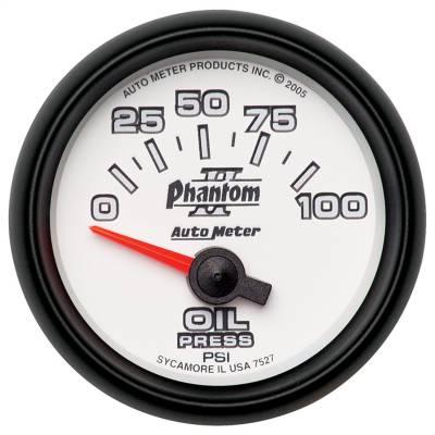 "Instrument Panel - Engine Oil Pressure Gauge - AutoMeter - GAUGE, OIL PRESSURE, 2 1/16"", 100PSI, ELECTRIC, PHANTOM II - 7527"