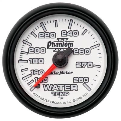 "Instrument Panel - Engine Coolant Temperature Gauge - AutoMeter - GAUGE, WATER TEMP, 2 1/16"", 140-280?F, MECHANICAL, PHANTOM II - 7531"