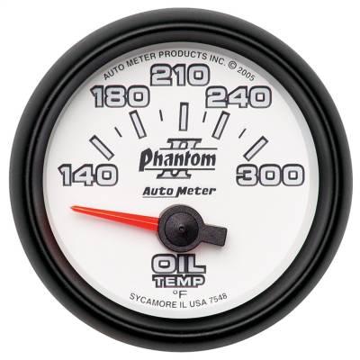 "Instrument Panel - Engine Oil Temperature Gauge - AutoMeter - GAUGE, OIL TEMP, 2 1/16"", 140-300?F, ELECTRIC, PHANTOM II - 7548"