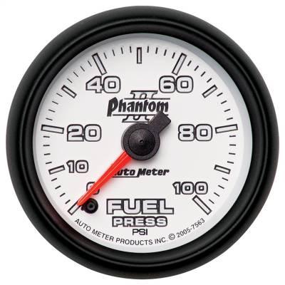 "Instrument Panel - Fuel Pressure Gauge - AutoMeter - GAUGE, FUEL PRESSURE, 2 1/16"", 100PSI, DIGITAL STEPPER MOTOR, PHANTOM II - 7563"