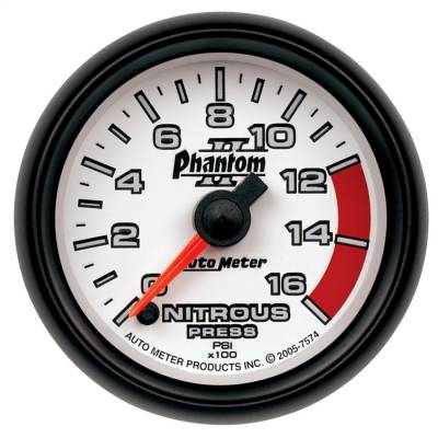 "Nitrous Oxide Injection System - Nitrous Oxide Pressure Gauge - AutoMeter - GAUGE, NITROUS PRESSURE, 2 1/16"", 1600PSI, DIGITAL STEPPER MOTOR, PHANTOM II - 7574"