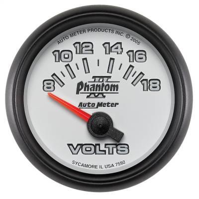 """Instrument Panel - Voltmeter Gauge - AutoMeter - GAUGE, VOLTMETER, 2 1/16"""", 18V, ELECTRIC, PHANTOM II - 7592"""